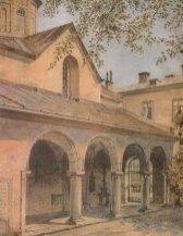 Вірменський собор. Вид із південного подвір'я. Акварель А.Каменобродського. Поч. XX ст. ЛІМ