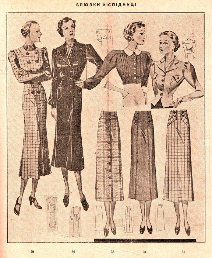 Блюзки і спідниці, 1937 рік
