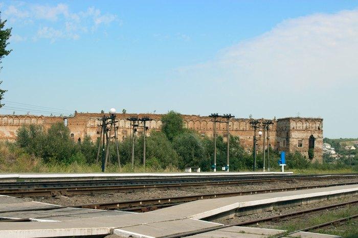 Замок в Старому Селі, вигляд від залізничної станції, фото 2015 року