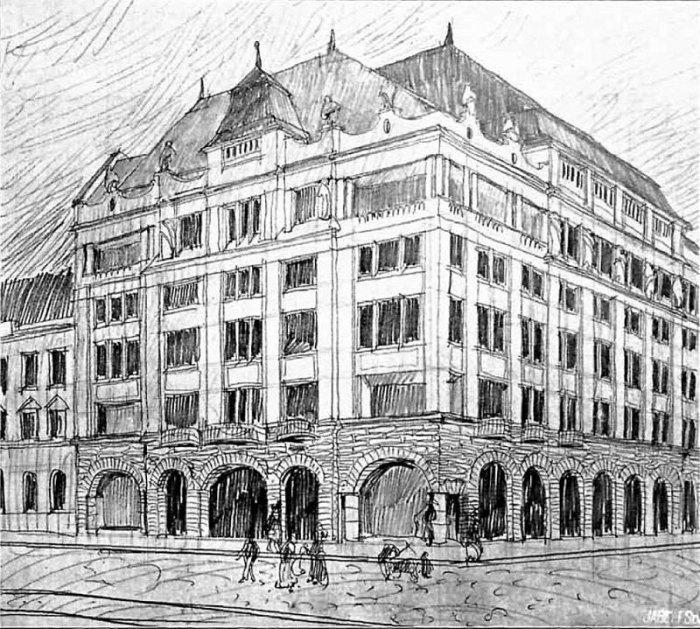"""Проект """"Краківського"""" готелю Г. Заремби і Р. Мацури, 1911 рік"""