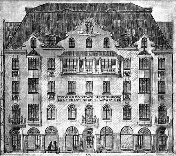 """Проект """"Краківського"""" готелю Ф. Мончинського і Т. Стриєнського, 1911 pік"""