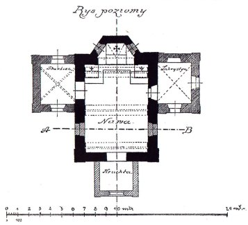 План Костелу Св. Івана Хрестителя. Я. Сас-Зубрицький, 18855 рік