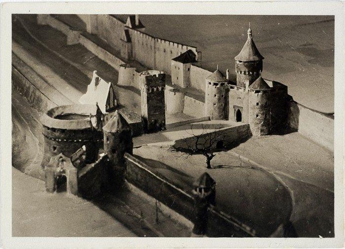Краківська брама на пластичній панорамі Львова Януша Вітвіцького, 1938 рік