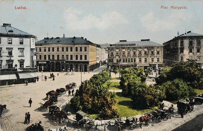 Марійська площа у Львові, вигляд до 1904 року (листівка 1910 року)