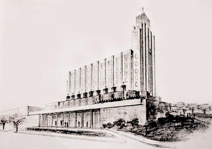 Костел Св. Вінсента де Поля. Перспективний вигляд, 1937 рік