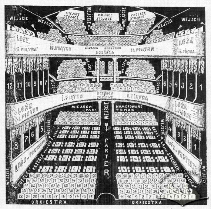 Аксонометрія глядацького залу з нумерацією місць