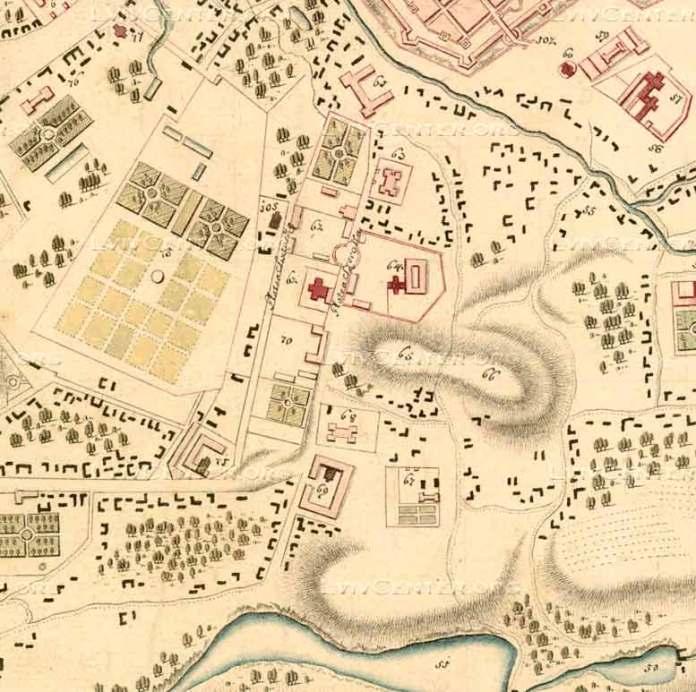 Фрагмент плану Львова 1770 року з плануванням вулиці Широкої (Коперника). Цифрами 67 та 68 позначені монастир Домініканок та Шпиталь Св. Лазаря, які частково збереглись до наших днів.