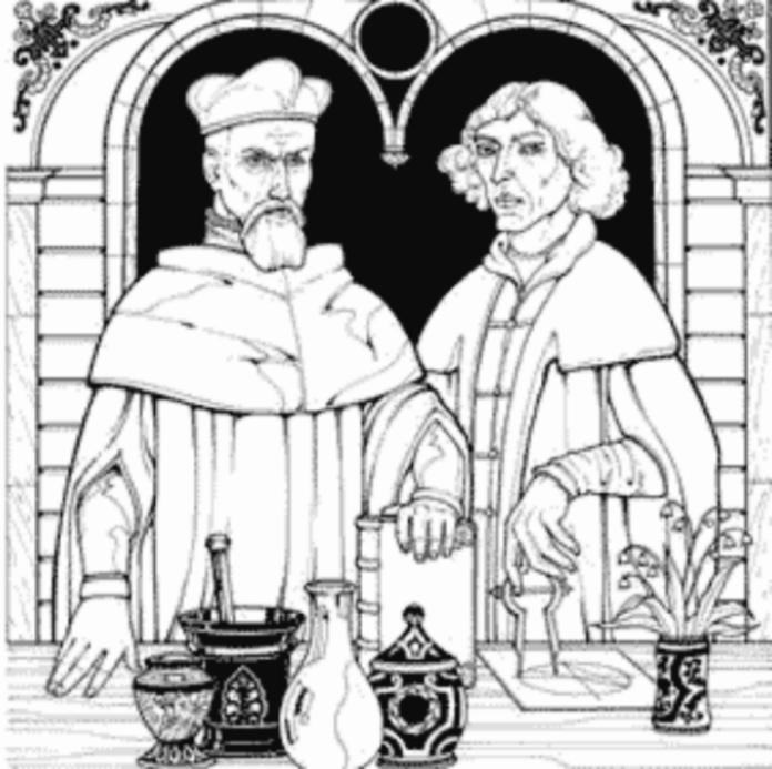 Схематичний неоригінальний малюнок Юрія Дрогобича та Ніколая Коперника