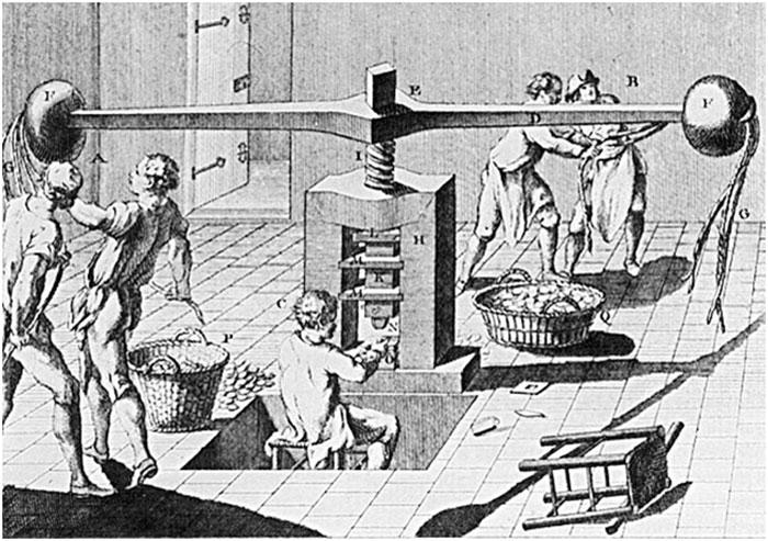 Пристрій для виготовлення монет у середньовіччі.