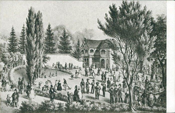«Стара» стрільниця на вулиці Лисенка та прилеглий до неї ботанічний сад у 1828-1848 рр. Листівка 1916 року