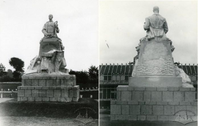 Пам'ятник Едуарду Бьом-Ермоллі на Військовій виставці у Стрийському парку. Фото 1916-1918 рр.