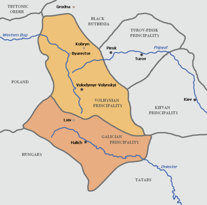 Об'єднані Галицьке і Володимирське князівства за правління Романа Мстиславовича