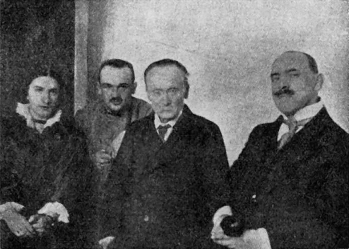 Зліва направо: Ірина Домбчевська, д-р Володимир Щуровський, д-р Іван Франко, д-р Бронислав Овчарський