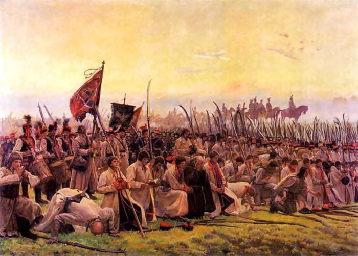 Й. Хелмонський. Молитва перед битвою. На своєму полотні художник зобразив загони косинерів
