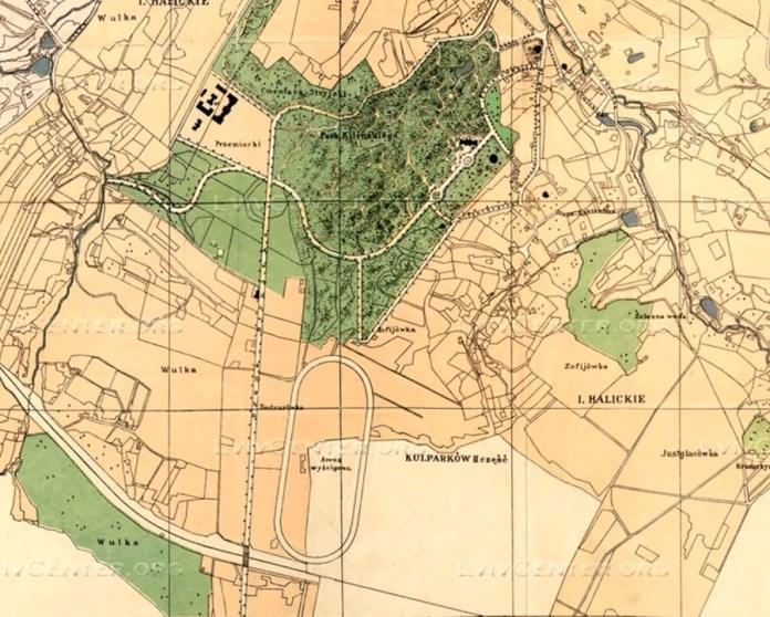 Другий львівський іподром на плані міста Львова 1900 року.