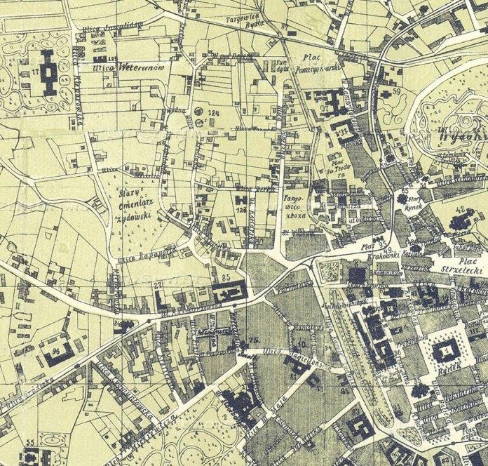 Фрагмент плану королівського столичного міста Львова 1892 року авторства Ю. Хованьця