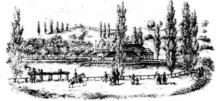Вигляд на Калічу гору з Пелчинського ставу. 1850 рік