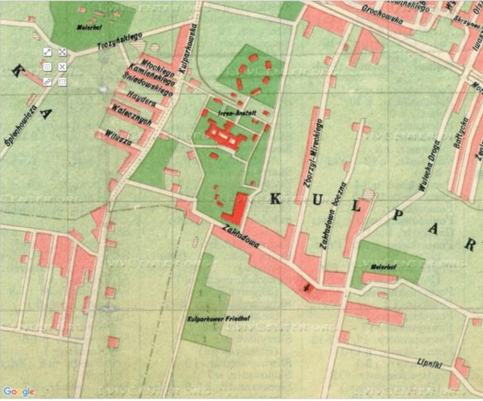 План міста Львова 1941 року, на котрому помітно психіатричну лікарню, Кульпарківське кладовище та капличку Св. Марії Магдалени