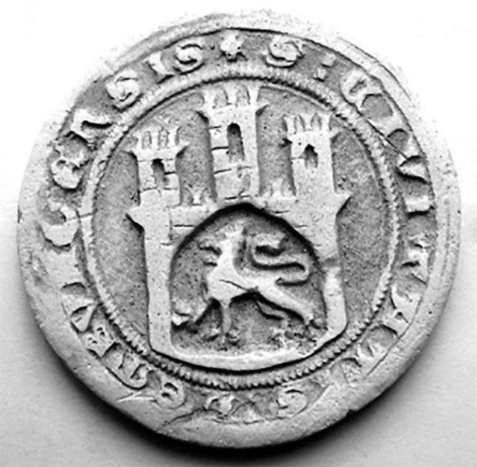 Так виглядала печатка Львова 1359р, зображення якої затверджено як герб міста в 1526 році