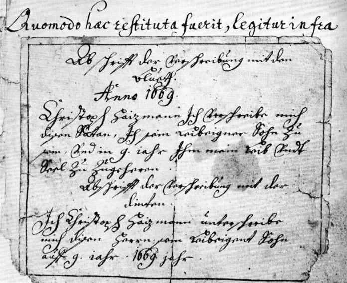 Приклад тексту угоди з дияволом. XVII століття.