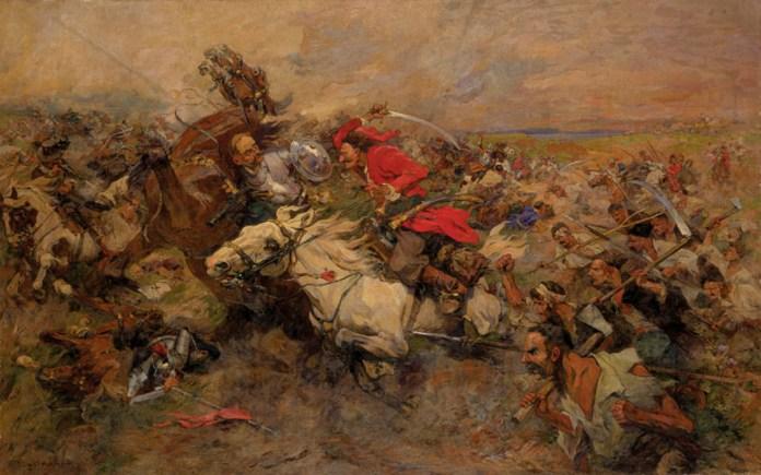 Бій козаків і поляків. Микола Самокиш, 1934 р. Фото з https://uk.wikipedia.org