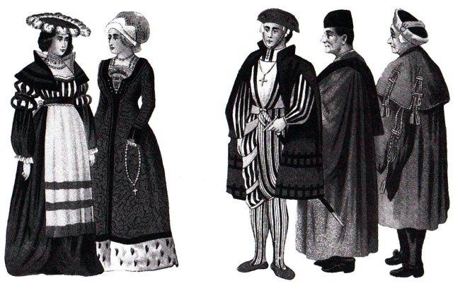 Мешканці Львова XVI столітя: Жінки, патрицій, вчений, міщанин.