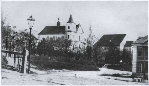 Костел Кармелітів босих до побудови другої вежі. Фото 1860-1870-х рр.