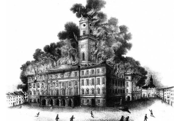 Пожежа у Львові в 1848 році, літографія Й. Риделя