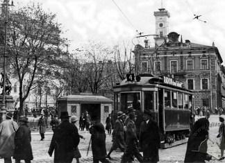 Трамвай на Гетьманських Валах, фото початку XX ст.