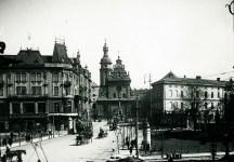 Фото, зроблене із площі Галицької, охоплює також церкву Андрія. Приблизно 1925 р.