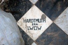 """Фірмова кахлина з підписом """"Hardtmuth SPA Lwów"""", 2016 рік"""