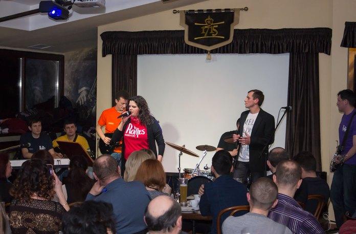 """Концерт кавер-гурту """"Роги"""" (""""The Rohies"""") в приміщенні ресторану «Віденська кав'ярня» 21 лютого 2016 року"""