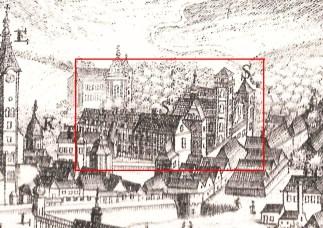 Панорама Львова Франсуа Пернера 1772 р., на якій червоним позначено костел і монастир кармелітів взутих – закінчення збудованих фортифікацій «лінії Беренса»