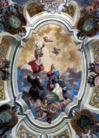 Небесна сфера з зодіакальним колом, оточена святими. Церква св. Андрія