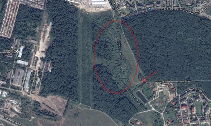 Вид з космосу на місце, де було Піонерське озеро. Стрілкою позначено сучасні залишки греблі
