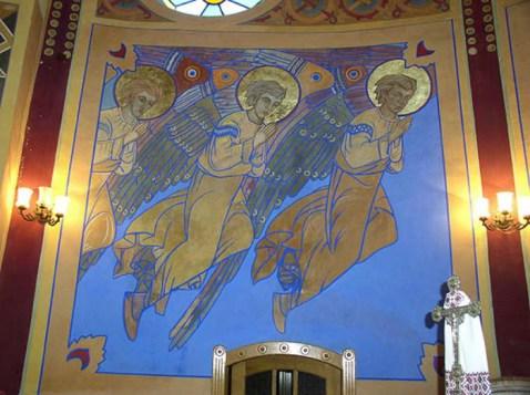 Ангели. Фрагмент розпису церкви Св. Миколая в Золочеві