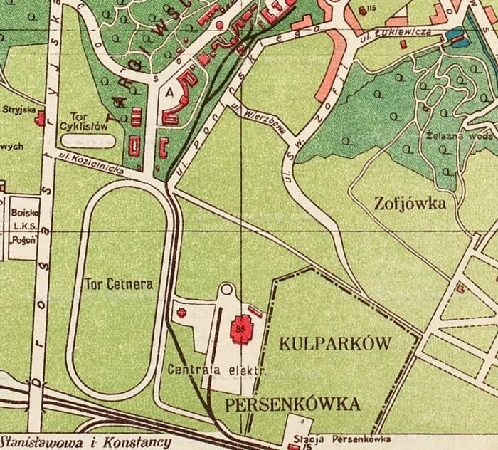 Мапа 1921 року, на котрій позначено перший іподром на Персенківці
