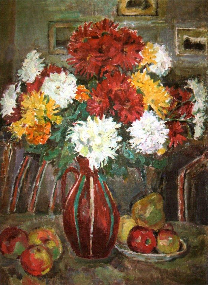 """Ольга Плешкан «Хризантеми і фрукти. Натюрморт"""", 1970-ті рр."""