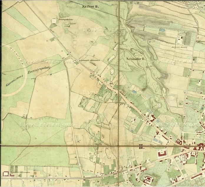 Мапа Львова 1844 без Левандівки, однак з іподромом на її місці