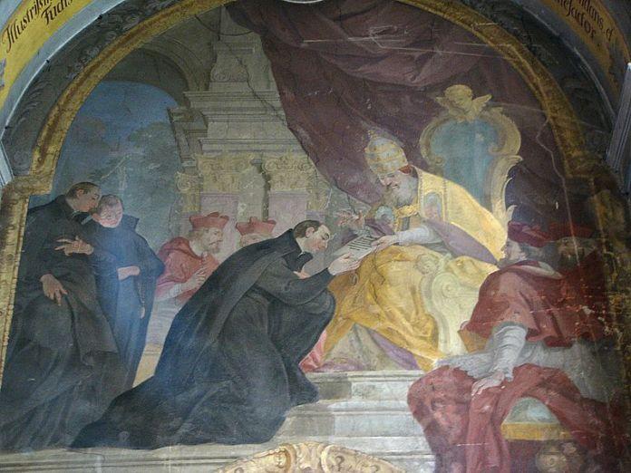 Фреска Яна Кшиштофа Гандке, на якій зображено вручення Папою Павлом ІІІ булли І. Лойолі. Чітко видно одяг єзуїтів. Фото з https://en.wikipedia.org