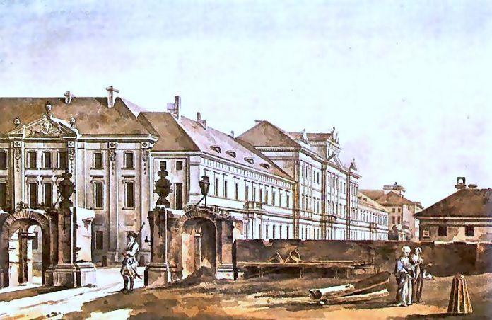Старовинний вигляд споруди Collegium Nobilium єзуїтів у Варшаві. Акварель, 1788 р. Робота Зигмунта Фогеля
