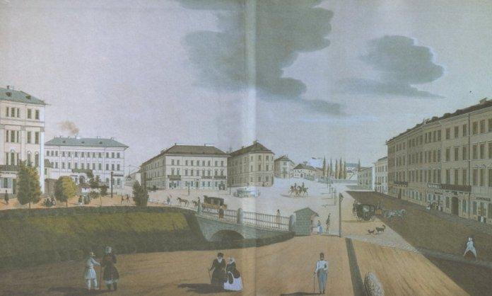 Площа Фердинанда (Міцкевича) на літографії Августа Гаттона 1847 року