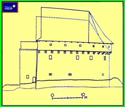 Схема вигляду Порохововї вежі ще при її функціональності