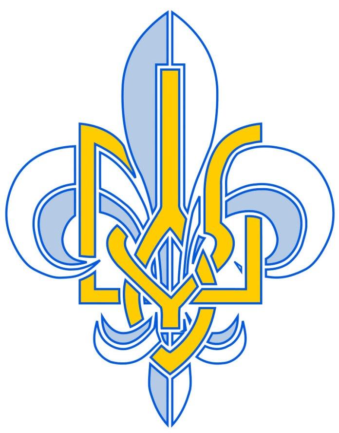 Герб українського Пласту – трилиста лілія у переплетенні з гербом