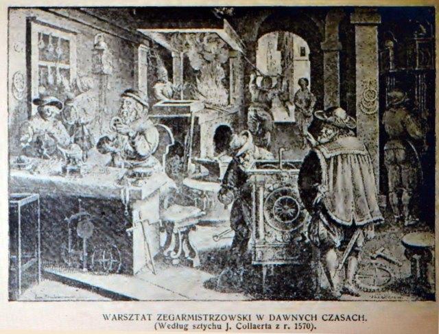 Годинникова майстерня давніх часів (джерело фото - Ф. Яворський «Львів давній і вчорашній»)