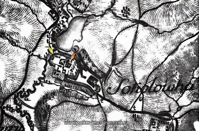 Соколівна на мапі Фрідріха фон Міга, 1779-1782. Костел позначено червоною стрілкою, замчище - жовтою (взято з http://zamki-kreposti.com.ua)