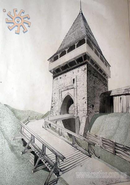 Оборонна вежа у П'ятничанах. Проект реставрації. Автори: І.Ковалишин, І.Могитич, І. ПІхурко (фото з http://www.castles.com.ua/piat.html)
