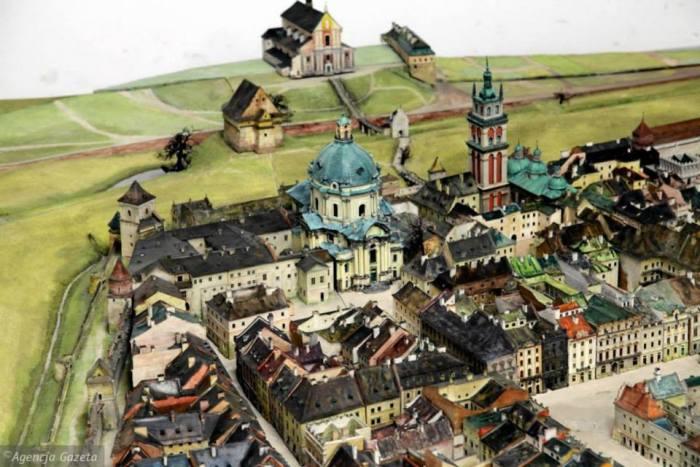 Вигляд босяцької брами на пластичній панорамі Вітвицького