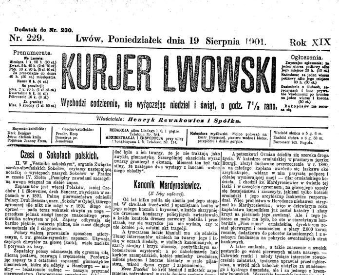 Стаття про Яна Мардиросевича у газеті «Kurjer Lwowski»