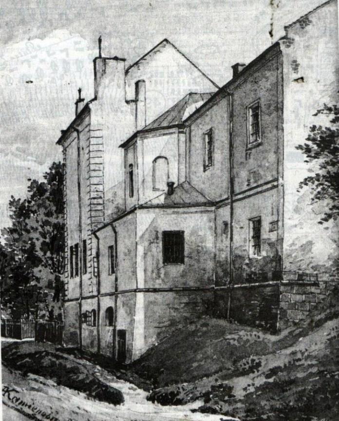 Палац Яблоновських, поч. ХХ ст. Акварель А.Каменобродського.